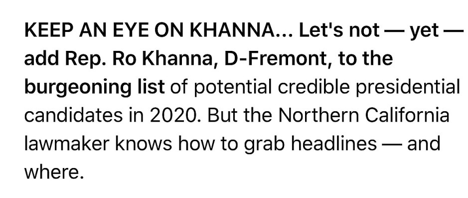 Khanna politico playbook