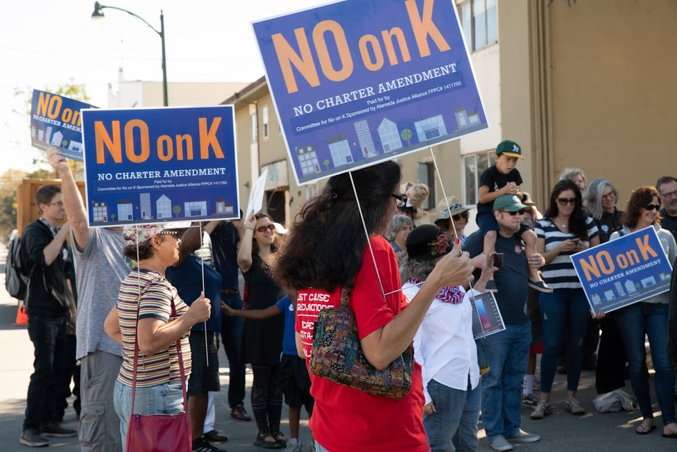 No on K rally