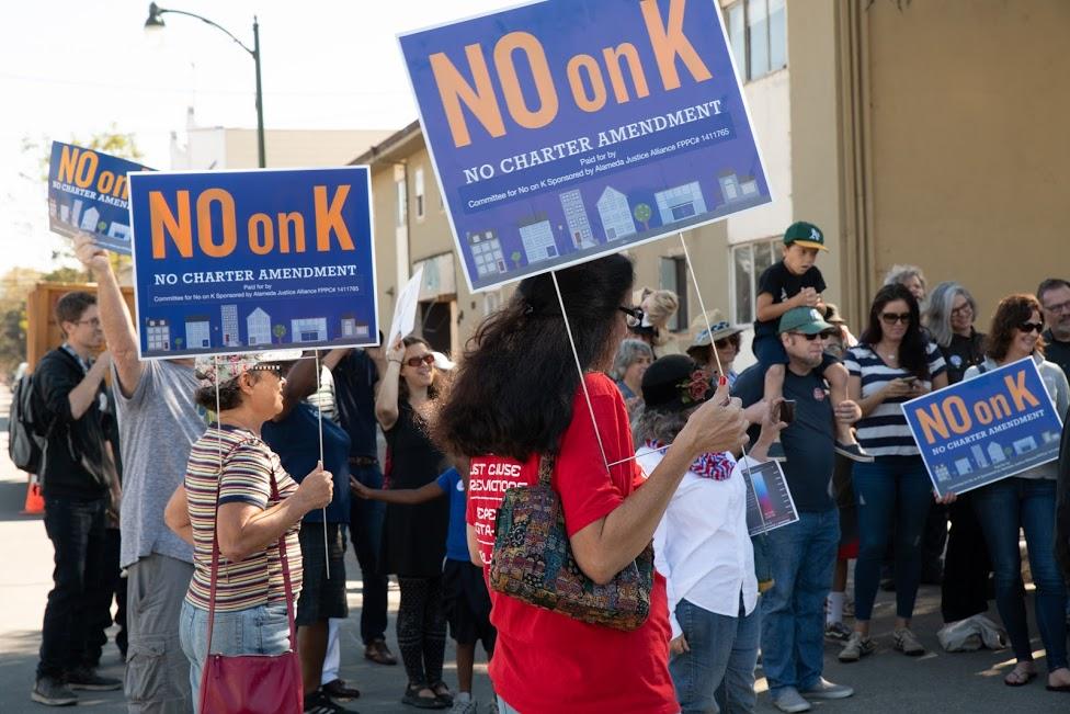 No on K rally