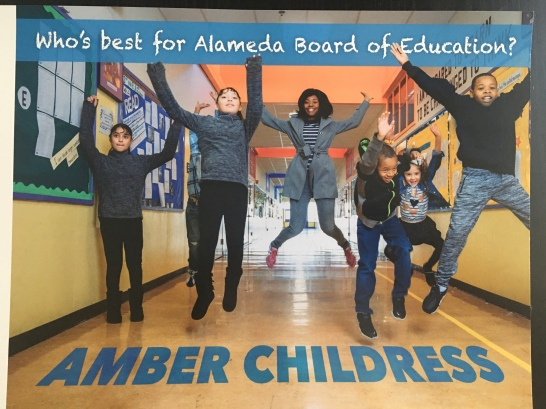 Mailer sent by a Charter Public Schools PAC for Alameda County Board of Education Area 2 Trustee Amber Childress
